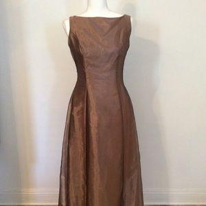 Alfred Angelo Bronze full length bridesmaid dress.
